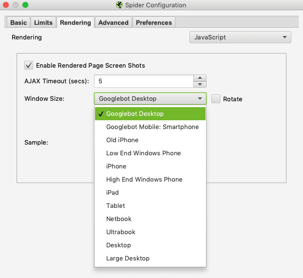 Rendering options in Screaming Frog - useful for image analysis and SEO.
