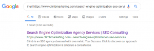 Climb Marketing SEO Page Example of Inurl Advanced Search Operator
