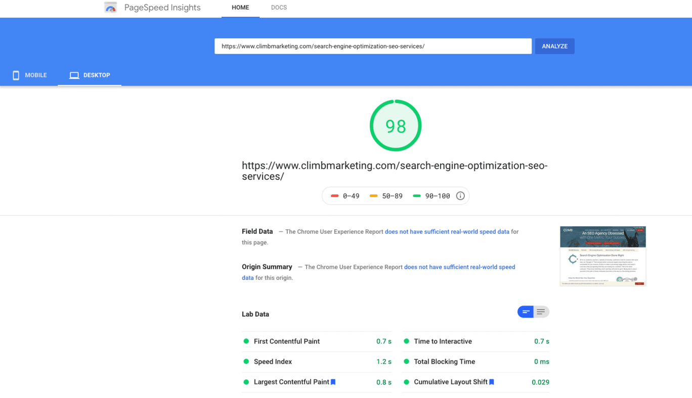 Our PageSpeed Insights score after making small changes to manipulate Core Web Vitals metrics
